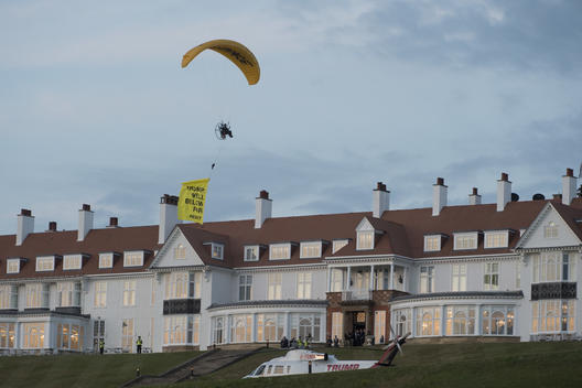 Activists Fly Banner over Trump in Scotland