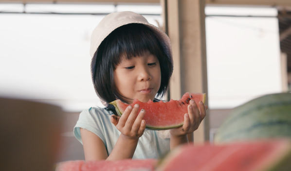 Child Eating Ecological Watermelon in Tokyo