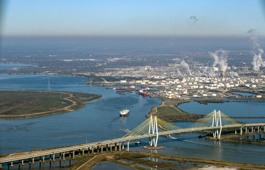 Oil Facilities and Hartman Bridge in Texas