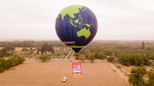 Balloon Climate Message for Governor Newsom in California