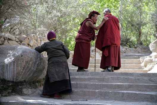 Monks outside the Sera Monastery