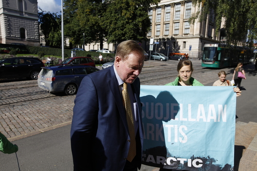 Protest against Arctic Oil at House of Estates in Finland