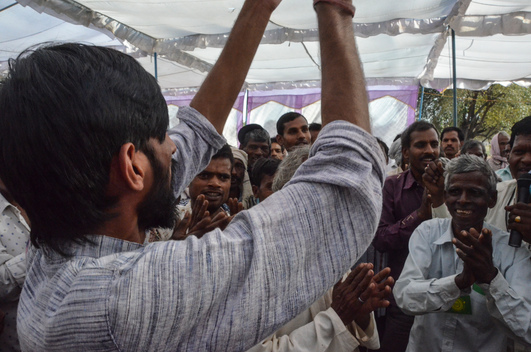 Villagers Shout Slogans in the Mahan Forests in Madhya Pradesh