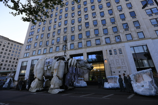 Giant Polar Bear Aurora at Shell HQ in London