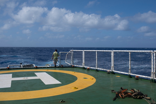 Bosun on the Esperanza in Pacific Ocean