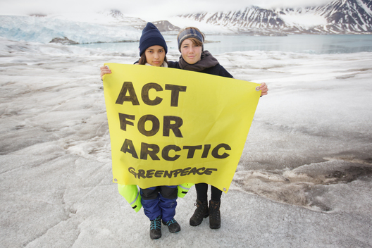 Daughters of Emma Thompson and Michelle Thrush in the Arctic with Greenpeace