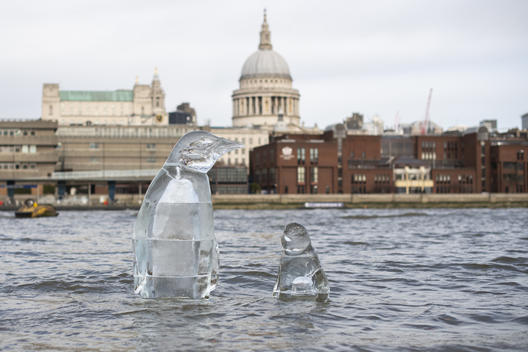 Penguin Ice Sculpture in London