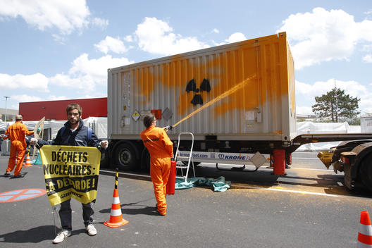Painting Action on a Nuclear Waste Truck in France