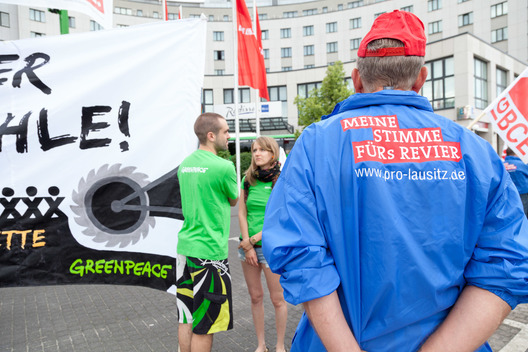Lignite Protest at Die Linke Party in Cottbus