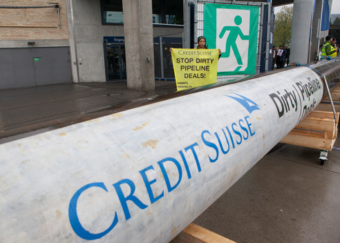 DAPL Protest at Credit Suisse General Meeting in Zurich