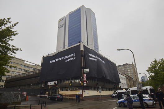 Anti-Coal Action at the Law and Justice Party HQ in Warsaw