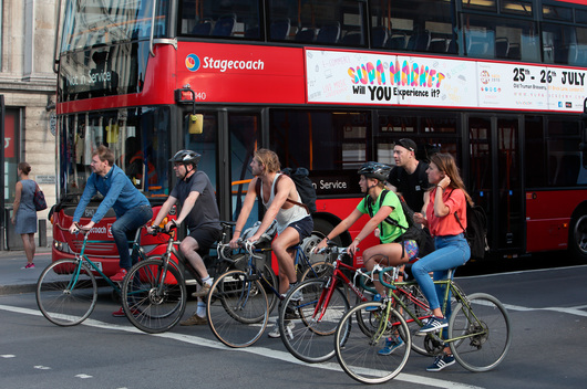 Commuters on Bicycles in Central London