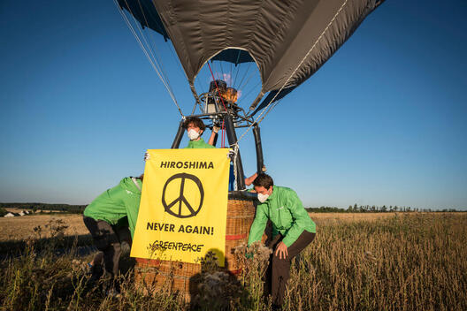 Protest with Hot Air Balloon against Nuclear Weapons in Büchel