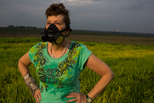 Local Woman with a Breathing Mask in Texas