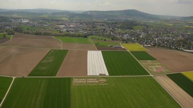 World's Oldest Nuclear Reactor Sign at Zurich Airport - Aerial Video