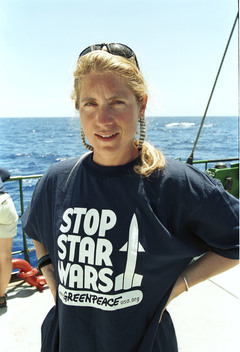 Melanie Duchin, nuclear campaigner on Rainbow Warrior during Star Wars expedition. Marshall Islands.