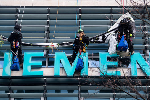 Coal Protest on Siemens Roof in Munich