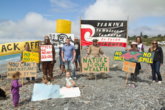 Banners on Kaikoura Beach in New Zealand