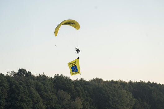 Protest with Paraglider at Dannenroeder Forest