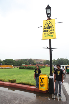 Nuclear Protest at Indian Parliament in New Delhi