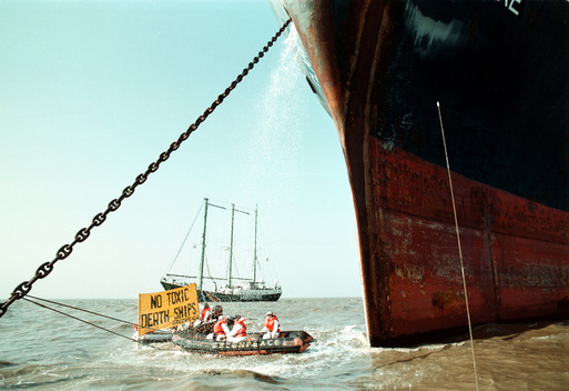 Greenpeace Inflatable Chained to Anchor of MV Clare in Gujarat