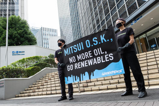Banner Action on Mauritius Oil Spill in Tokyo