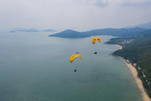 """Save Our Lantau"" Paragliding Action in Hong Kong"