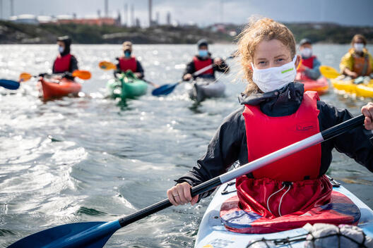 Kayakers Protest against the Expansion of Preem's Oil Refinery in Sweden