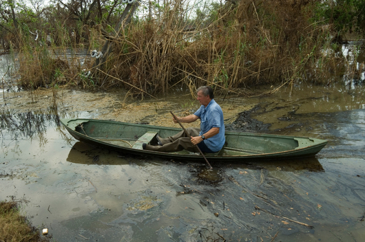 Roko Tvrdeic Reaches His Oyster Boat After Hurricane Katrina
