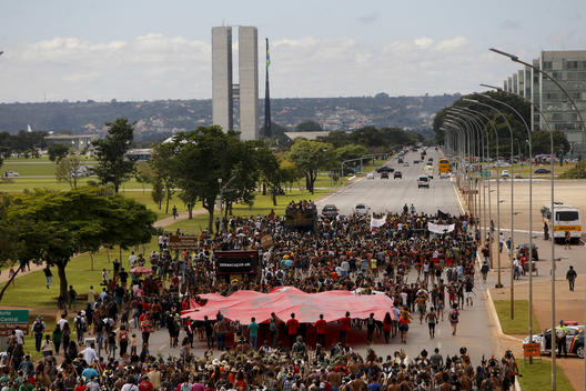 "Indigenous People Protest with ""Blood"" Trail in Brazil"