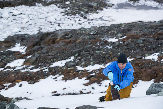 Thilo Maack takes Snow Samples in the Antarctic