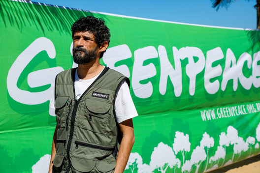 Portrait of Nilo D'Ávila, Campaign Director for Greenpeace Brazil, at Protest Against Renca Termination in Brazil
