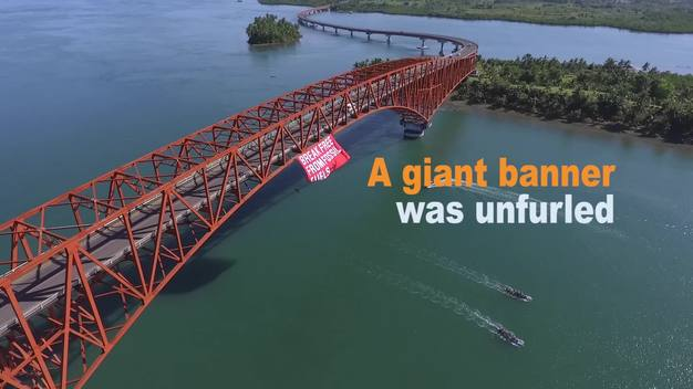 Break Free Banner at San Juanico Bridge in Leyte - Web Video