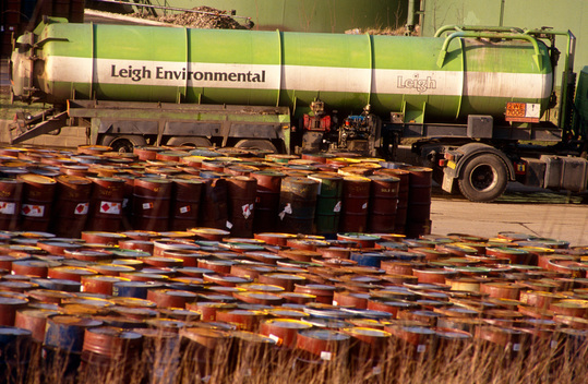 Tanker and barrels of toxic waste at Leigh Environmental incinerator,  Killamarsh, Sheffield.