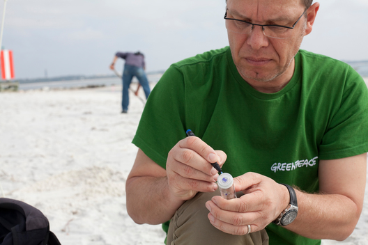 Sampling on Pensacola Perdido Keys Beach in Florida
