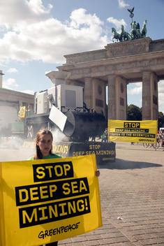 Protest against Deep Sea Mining in front of Brandenburg Gate in Berlin