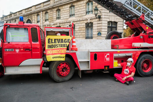 Access Blockade Action with a Fire Truck in front of the Elysée