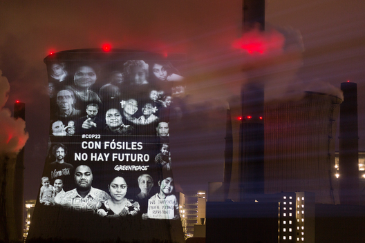 Projection in Spanish onto Coal Power Plant Neurath in Germany