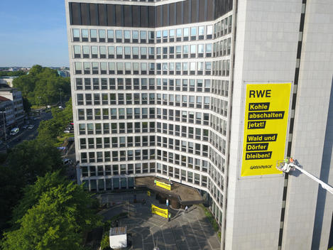 Protest at RWE Headquarters in Essen - Drone Photo