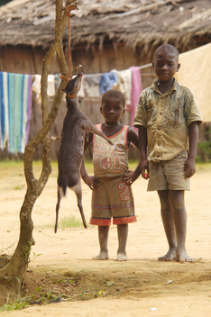 Children with Dead Deer in Africa