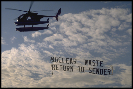Helicopter with Nuclear Banner
