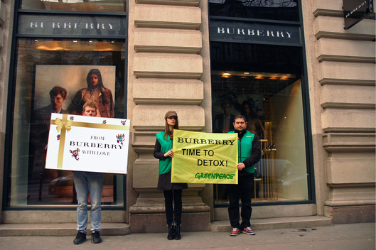 Detox Protest at Burberry Store in Budapest