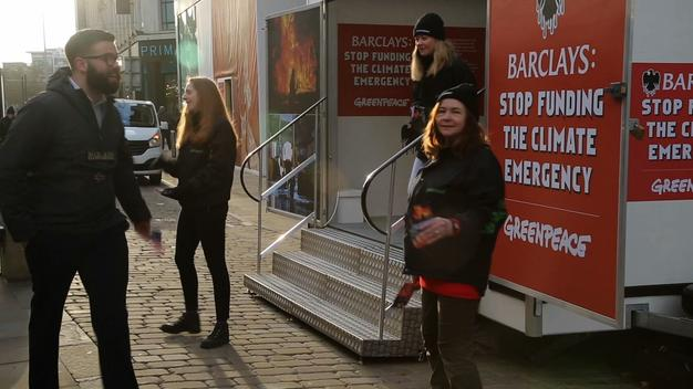 Pop-up Exhibition Blocks Barclays Bank in Manchester - Video