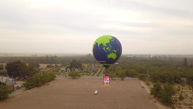 Balloon Climate Message for Governor Newsom in California - B-roll