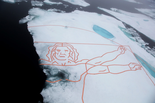 Da Vinci's Vitruvian Man on Arctic Sea Ice