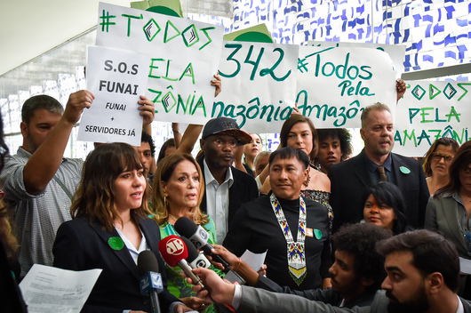 Brazilian Actress Alessandra Negrini Protests at Brazilian National Congress