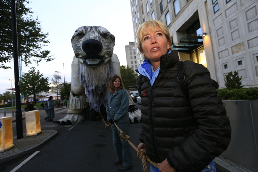 Giant Polar Bear and Emma Thompson at Shell HQ in London