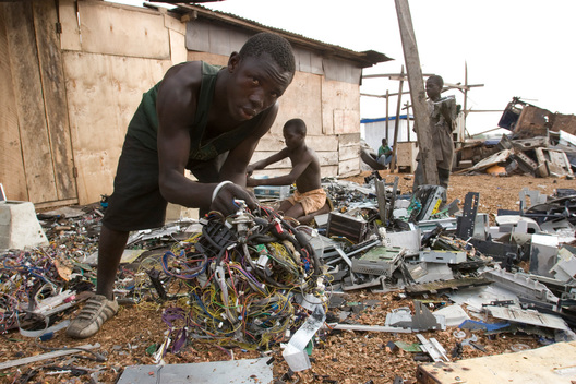 Boys Breaking Computer Parts in Ghana