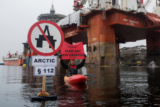 Protest against Arctic Oil at Statoil Commissioned Rig in Norway