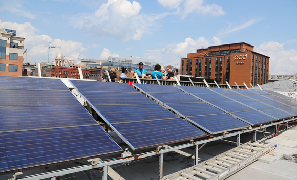 Solar Panels on Roof of Greenpeace Office in Washington D.C.